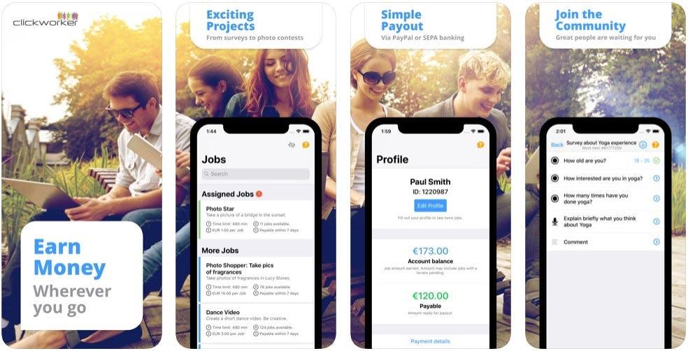 Clickworker app para ganar dinero