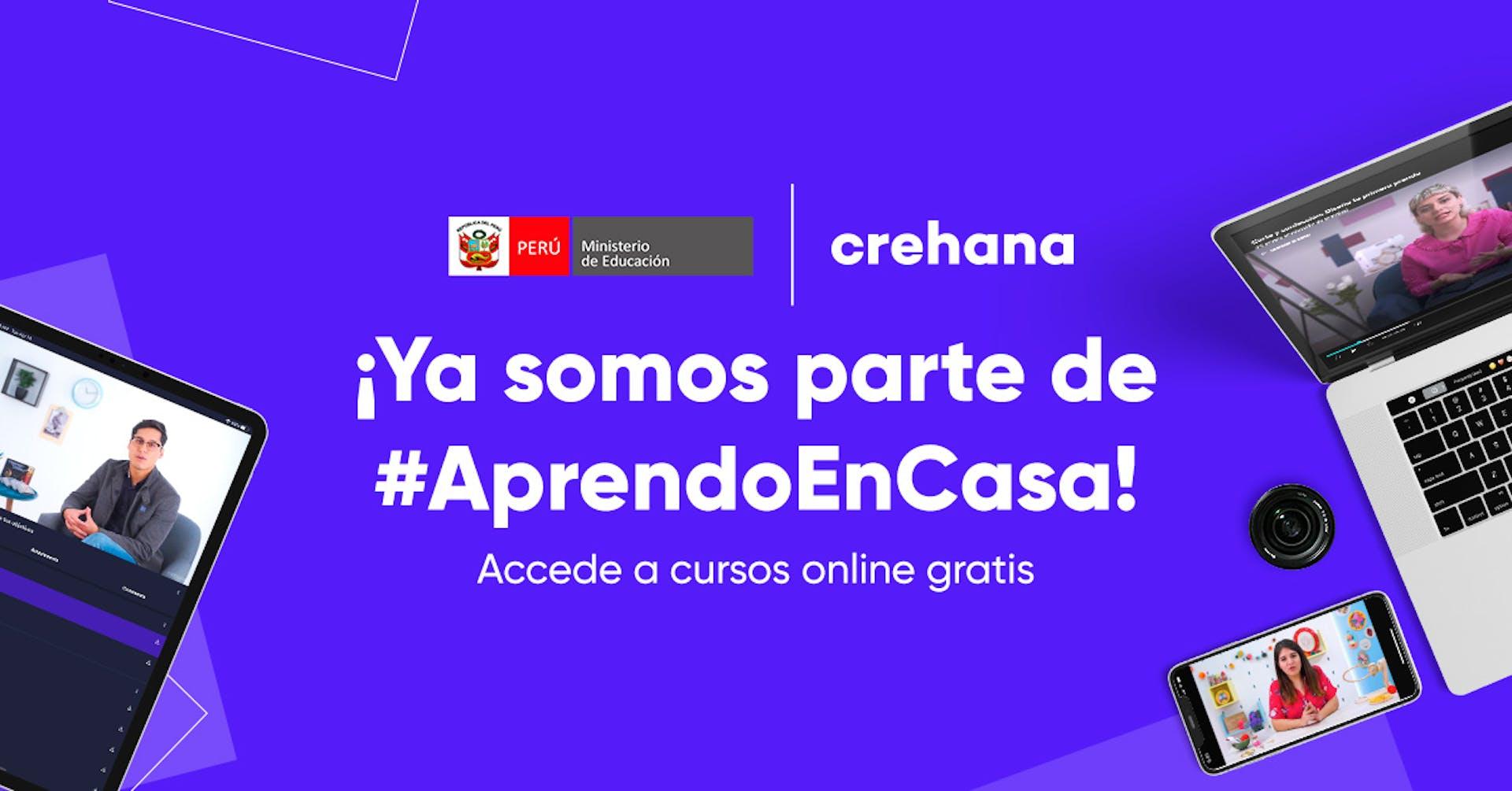 """Crehana se une a """"Aprendo en casa"""" del Minedu de Perú"""