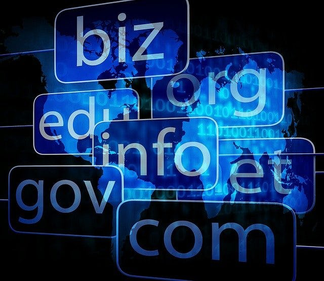 domain extensions of the web pages