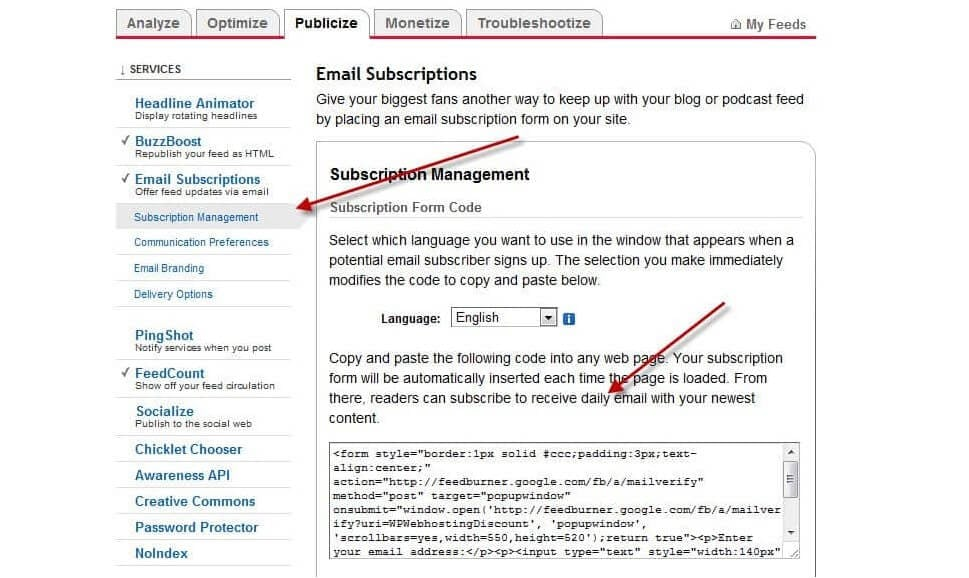 configure email subscription feature in Feedburner
