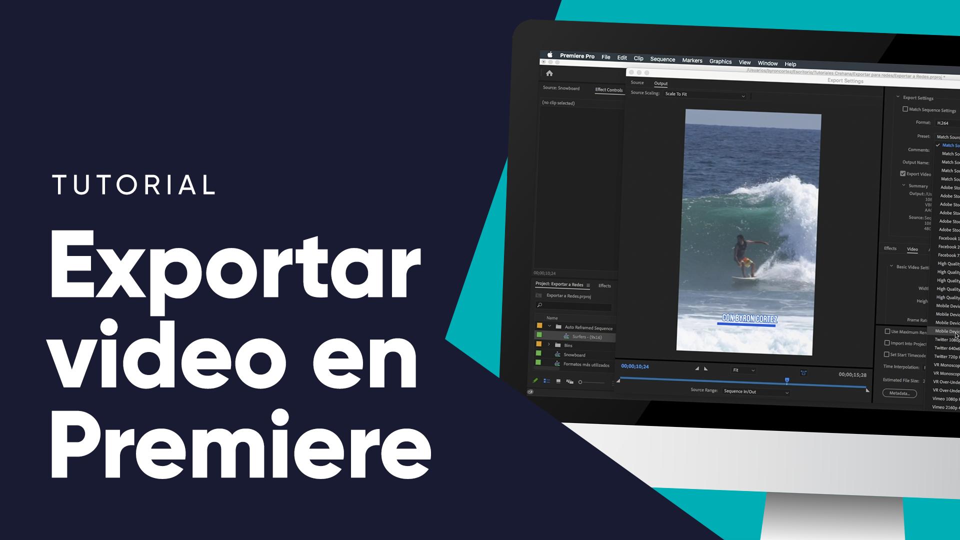 ¡Aprende cómo exportar un video en Premiere con solo cuatro pasos!